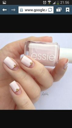 Pink with tiny gold beads nail art