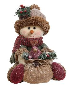 Love this Sitting Snowman Holding Burlap Sack Décor by GCA International on Crochet Snowman, Felt Snowman, Cute Snowman, Snowman Crafts, Decor Crafts, Holiday Crafts, Snowmen, Christmas Sewing, Primitive Christmas