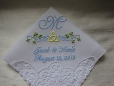 Celtic Monogrammed Wedding Handkerchief with Swiss by mollyandmom, $28.00