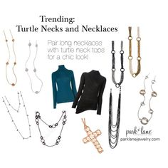 """""""Trending: Turtle Necks and Necklaces"""" by parklanejewelry on Polyvore Park Lane Jewelry Featured: Everyday Diva Necklaces, Diamond Dust Necklace, Chic Necklace, Runway Necklace, Valentina Necklace, and Fashion Must Necklaces"""