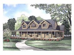 Probably my FAVORITE. Country Log House Plan, 025L-0027