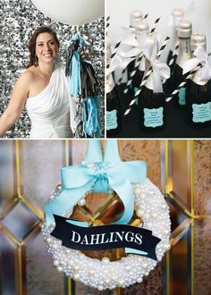 Glitz & Glam Audrey Hepburn Inspired Party as seen in Bird's Party Mag & on Hostess with the Mostess. Preppy Pearl Wreath by Sweet Georgia Sweet. Party styled by Dorangela Bobet of Two Prince Bakery. #tiffanyblue
