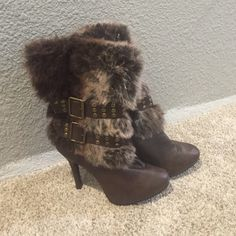 Brown furry boots Mid calf , worn a couple times Shoes Heeled Boots