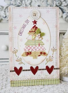 Christmas Joy Card by Melissa Phillips - love her soft, shabby chic style