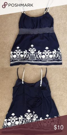 Cute embroidered top Embroidered top with padded cups and drawstring back. Adjustable straps HeartSoul Tops Tank Tops