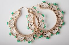 Gold Filigree Large Hoop Earrings Encrused w/ Emerald: Nalla on Etsy, $634.00