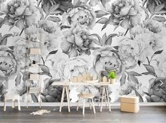 Black White Peony Flower Wallpaper Mural Art Wall Decals Home Wall Decor Printed Photo Floral Wall Paper Rolls Contact Paper for Bedroom 3d Wallpaper For Walls, Photo Wallpaper, Cheap Wallpaper, Mural Art, Wall Murals, Wall Décor, Textures Murales, Reproductions Murales, Wall Painting Living Room