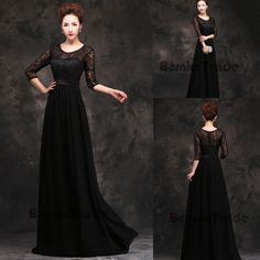Elegant  Lace Black Mother of the Bride Dresses Chiffon Long Prom Evening Gown  #Handmade #Aline #Formal