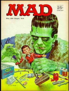 A classic Mad cover from 1964 spoofs the monster mania of its time with the Frankenstein Monster assembling an Alfred E. Beetlejuice, Comic Book Covers, Comic Books, Alfred E Neuman, Mad Magazine, Magazine Covers, Magazine Rack, Ec Comics, Frankenstein's Monster