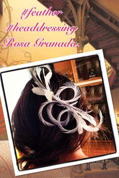 #feather #headdressing  Rosa Granada. Tocado para novia de plumas.
