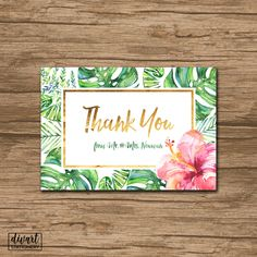 Floral Thank You Card, Baby Shower Thank You Card, Bridal Shower Thank You Card - watercolor greenery tropical leaves hibiscus gold - Waiola by DIVart on Etsy