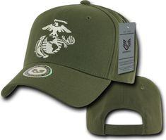 RapDom Marines Logo Back To The Basics Mens Cap [Olive Green - Adjustable]