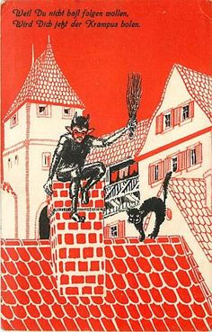 """Krampus on Roof Chimney Black Cat - aka """"you're getting sh*t for Christmas""""."""