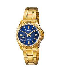 Jam Tangan Wanita Biru Keemasan Casio Standard : LTP-E115GB-2AV