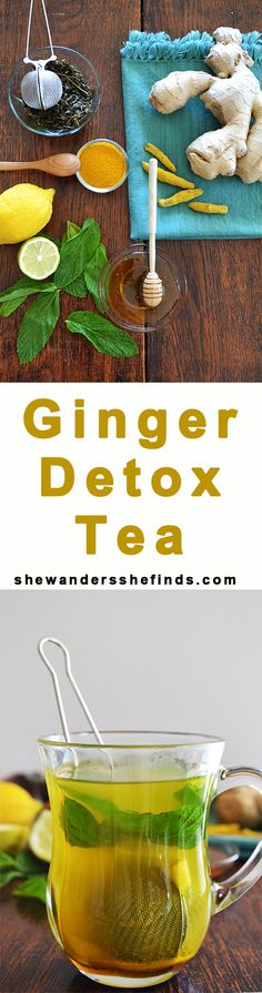 Ginger tea with mint, honey, turmeric and lemon  - Healthy detox tea - recipe - shewandersshefinds.com