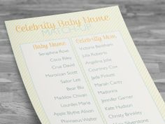 Printable games from Red Tricycle - Celebrity Baby Name Matchup from LA Shepherd on Etsy #babyshowergames