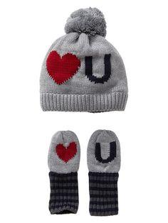 Gap | Intarsia love hat and mitten set