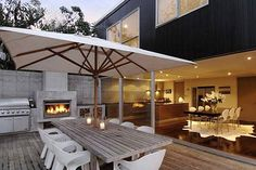 outdoor bbq next to fireplace - more modern
