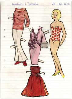 Annabelle L. Broström paper doll, 1963 * 1500 free paper dolls at artist Arielle Gabriel's International Paper Doll Society also her new memoir The Goddess of Mercy & the Dept  of Miracles playing with paper dolls in Montreal *