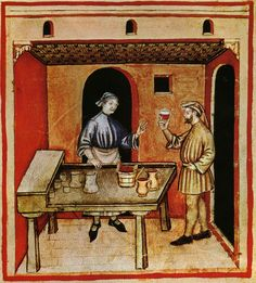 1390-1400.Tacuinum sanitatis, Milano or Pavie (Italy), Alimenti: vino rosso, dal Taccuino Sanitatis, Manoscritto Casanatense 4182 (XIV secolo). Red wine merchant.
