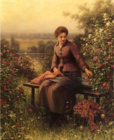 The Athenaeum - Seated Girl with Flowers (Daniel Ridgway Knight - )