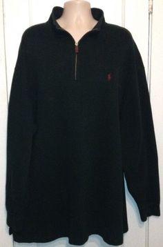 Polo Ralph Lauren Dark Green Knit Cotton 1/2 Zip Mock Collar Pullover 3XLT Tall #PoloRalphLauren #12Zip