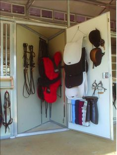 "Like if you love tack lockers! A great MDBarnmaster option is to take a small corner out of each stall, and make a locker that opens into the aisle right next to your cross ties - brilliant!! This was in a private barn on small acreage (so needed a small barn where every inch counted) but it's a super option for decluttering boarding barns too. ""If your stuff fits in this locker you can keep it here!"""