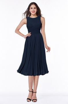Navy Blue Bridesmaid Dress - Modern A-line V-neck Sleeveless Tea Length Pleated Plus Size More