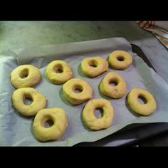 homemade donuts, ready to go in the oven