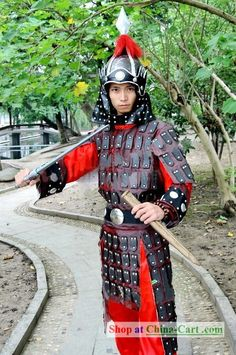 Ancient Chinese General Armor Costumes and Helmet Complete