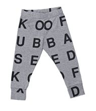 Adorbs. But who put two Os on the crotch... // Nununu Baby Grey Alphabet Leggings