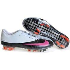 http://www.asneakers4u.com Sale Men Soccer White/Black/Pink Cleats   Nike Mercurial Vapor Superfly FG 2011