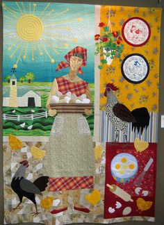 Original Design Quilt Category - 2012 Tokyo International Quilt Festival She is beautiful Patchwork Quilting, Applique Quilts, Quilting Projects, Quilting Designs, Chicken Quilt, Chicken Art, Farm Quilt, Japanese Quilts, Landscape Quilts