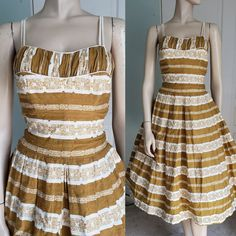 Vintage Summer Dresses, 1940s Dresses, Cotton Dresses, Vintage Outfits, Vintage Fashion, Hourglass Dress, Taffeta Dress, Fitted Bodice, Vintage Tops
