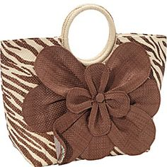 Magid Animal Print Paper Value Straw Bracelet Tote - Zebra/Brown