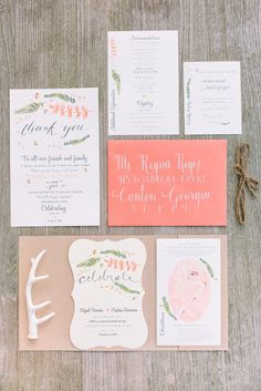 Flirty coral, green & white rustic wedding invitations designed by the bride  // Libelle Photography