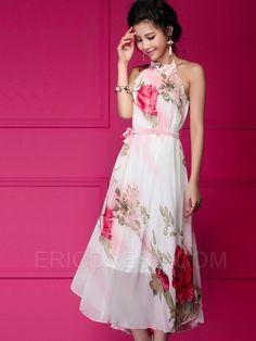 Ericdress Pink Halter Maxi Dress Maximum Style- ericdress.com 11322149