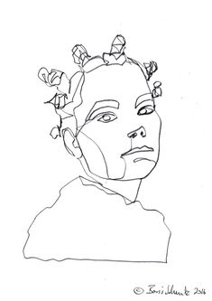 """""""Björk″, continuous line drawing by Boris Schmitz Sketch Painting, Drawing Sketches, Art Drawings, Art And Illustration, African Drawings, Mazzy Star, Linear Art, Character Design Tutorial, Minimalist Artwork"""