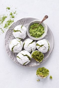 Matcha Amaretti Cookie Recipe - Gluten and Dairy Free! I will make these using aquafaba in lieu of chicken's eggs. Cruelty free cookies always taste better! Amaretti Cookie Recipe, Amaretti Cookies, Almond Cookies, Chocolate Cookies, Cookie Recipes, Dessert Recipes, Baking Desserts, Matcha Cookies, Green Tea Recipes