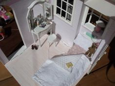 1/6 scale Barbie bedroom... pink & white bed, vanity and wood floor... custom dollhouse creation by CHANIKAVA