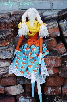 Duża lalka Tilda Anioł w Vintage Garden - ręcznie szyte niepowtarzalne lalki na DaWanda.com