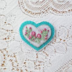 Delicate Turquoise Heart with Pink Embroidered Roses and Sparkling Glass Beads Brooch / Pin / Broach Victorian, Butterflies, Glass Beads