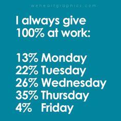 :)  I always wake up thinking I'm ready to give 100%