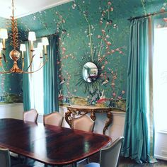 In an install daze.ready for accessories! Chinoiserie Wallpaper, Chinoiserie Chic, Picture Arrangements, Dining Room Inspiration, House Rooms, Powder Room, Dining Rooms, Wall Murals, Furniture Design