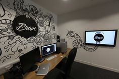 WALL MURAL IDEA - Mural interacts with digital screens all around the walls, we can add Phones, TV's and tablets..  Brave Mural by Tim Miness, via Behance