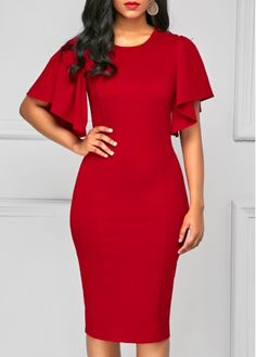 Back Slit Round Neck Red Skinny Dress.