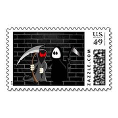 Halloween character, two Grim Reapers also called Angel of Death. This design is customizable and is available for a variety of products. Text adding is optional. Photo courtesy photos-public-domain.com