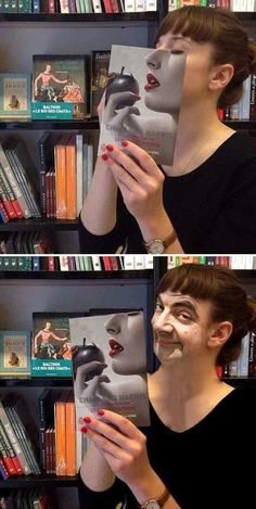 Click to see Never judge a person behind a book cover | Funny Picture on Funny Goblin, the best creative humor community to search and share your favorite funny pictures, memes, gifs, jokes, humour pics, videos on internet.