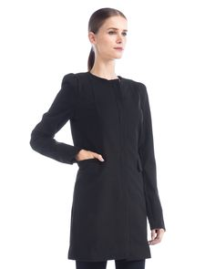 Long sleeve coat w/ seam details by Three Dots