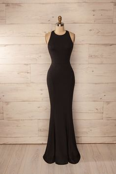 2017 Custom Charming Black Mermaid Prom Dress, Sexy Halter Prom Dress,Simple…